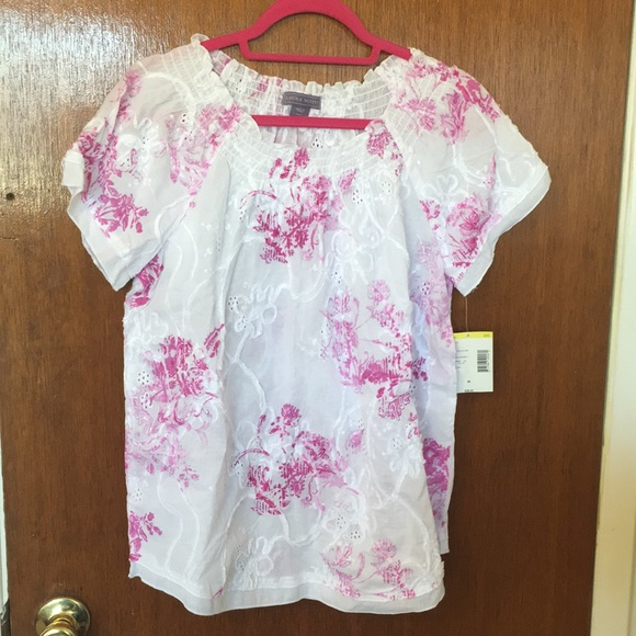 Laura Scott Tops - pink floral blouse